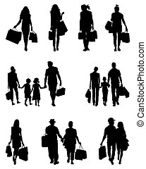 people in the shopping - Black silhouettes of people in the...
