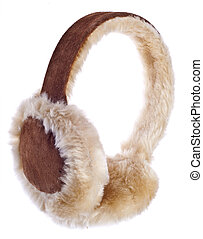 Fuzzy Winter Ear-Muffs Isolated on White with a Clipping...