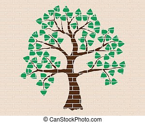 Illustration of tree on the beige -brick wall. Brown tree, green foliage