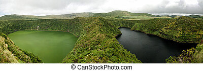 Aerial view to Comprida and Negra lakes , Flores island ,...