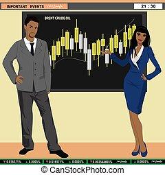 Financial news anchor man and woman header TV, vector...