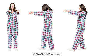 3 portraits in pajamas in a row a woman suffers from...