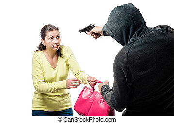 Armed robber and victim with a bag on a white background