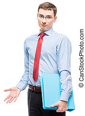 Portrait of an emotional accountant with a large folder in...