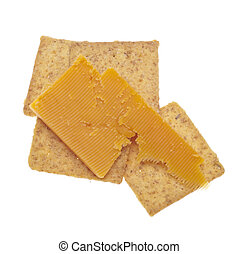 Cheddar Cheese and Crackers Isolated on White with a...