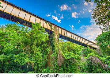 Rural Train Trestle - A train trestle passes through a rural...