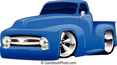 Hot Rod Pickup Truck Illustration - Classic vintage hot rod...