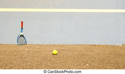 Bouncing Tennis Ball against Wall. Tennis ball jumping on...