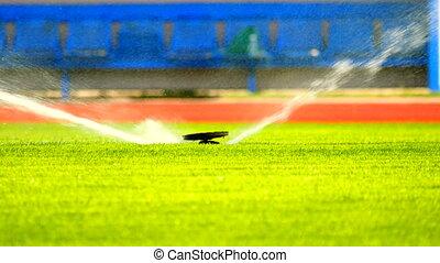 Sprinkler Watering a Sports Field. Working sprinklers with...