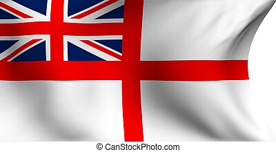 Naval ensign of UK flag against white background Close up