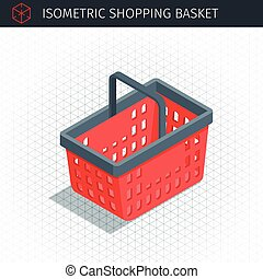 red plastic shopping basket - Isometric empty red plastic...