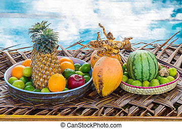 Fresh Fruits on the beach at a deck