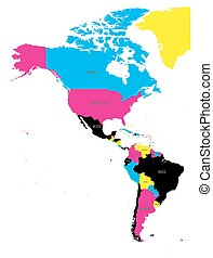 Political map of Americas in CMYK colors on white background. North and South America with country labels. Simple flat vector illustration