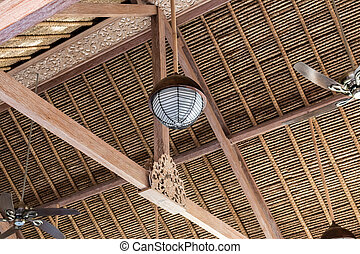 Bamboo ceiling pattern in bamboo house in Bali island,...