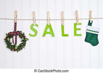 Holiday Sale Concept - SALE on a Clothesline with a Wreath...