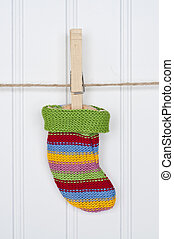 Holiday Stocking or Sock on a Clothesline