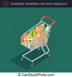 Isometric shopping cart full of groceries. Supermarket or...