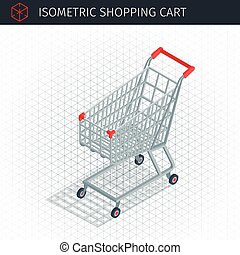 Isometric empty shopping cart. Supermarket or local store....