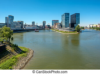 Dusseldorf city cityscape Rhine with river in front