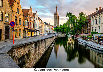 Bruges cityscape with Church of Our Lady - Bruges (Brugge)...