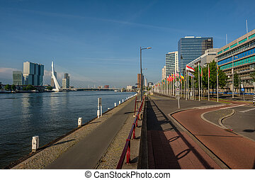 Rotterdam city cityscape skyline with Erasmus bridge and...