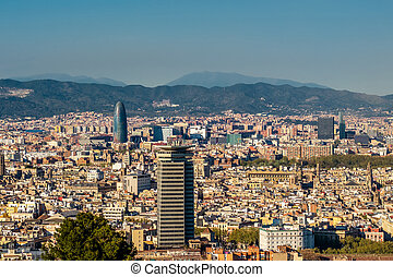 Barcelona cityscape overlook from Montjuic