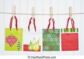 Holiday Gift Bags on a Clothesline