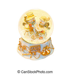 Snow globe with snowmen inside and clipping path included