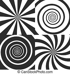 Conjunto, Ilustración, elementos, rayos, efecto,  radial, Espiral, torcido, vórtice,  vector, diseño, fondos, cómico, giro, psicodélico