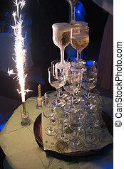vertido, champaña, vino, Camareros, anteojos