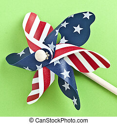American Flag Patriotic Pinwheel on a Vibrant Green...
