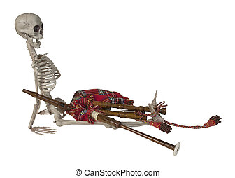 Skeleton with Bagpipes - Skeleton with Traditional Scottish...