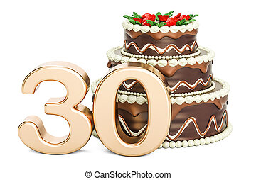 Chocolate Birthday cake with golden number 30, 3D rendering...