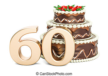 Chocolate Birthday cake with golden number 60, 3D rendering...