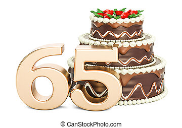 Chocolate Birthday cake with golden number 65, 3D rendering...