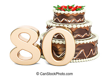 Chocolate Birthday cake with golden number 80, 3D rendering