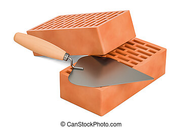 masonry trowel with bricks, construction concept. 3D rendering