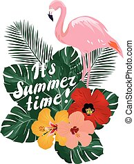 Summer Time - vector summer time with flamingo