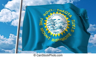 Waving flag of South Dakota. 4K clip - Waving flag of South...