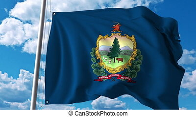 Waving flag of Vermont. 4K clip - Waving flag of Vermont. 4K...