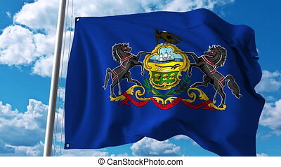Waving flag of Pennsylvania. 4K clip - Waving flag of...