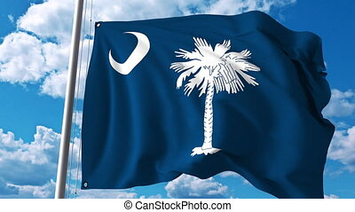 Waving flag of South Carolina. 4K clip - Waving flag of...
