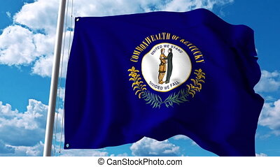 Waving flag of Kentucky. 4K clip - Waving flag of Kentucky....