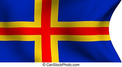 Flag of Aland islands against white background. Close up.