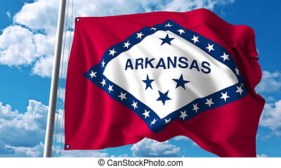 Waving flag of Arkansas. 4K clip - Waving flag of Arkansas....