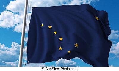 Waving flag of Alaska. 4K clip - Waving flag of Alaska. 4K...