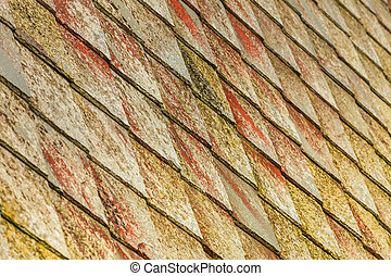 stone roof pattern background - Brown stone tiles roof...