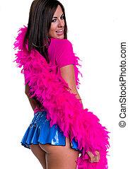 Cheerful brunette in mini skirt - Portrait of cheerful...