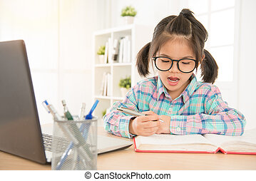 asia chinese school girl with glasses study english...