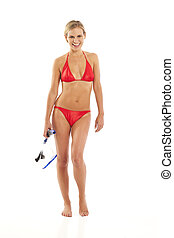 Young woman holding snorkel
